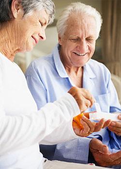 Senior residents at Brethren Village Retirement Community taking their medication