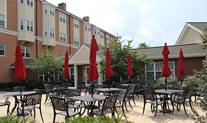 Outdoor patio of retirement living apartment unit